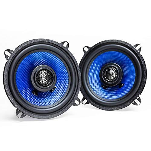 Hifonics Alpha HA525CX – 5.25 Inch 2 Way Coaxial Car Speakers, 200 Watt Max, Black and Blue, Aluminum Dome Tweeter, Voice Coil