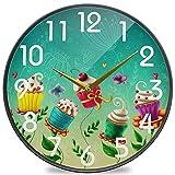 Colores Cup Cakes Reloj de Pared Redondo con Estampado de Flores, silencioso Reloj de Escritorio silencioso analógico de Cuarzo con Pilas para el hogar, la Oficina, la Escuela