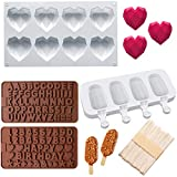 8 Cavities Diamond Heart Silicone Mold, Silicone Popsicle Molds with 50 Pcs Wooden Sticks, 2 Packs...