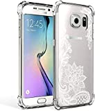 Galaxy S7 Case Clear with Lace Design Shockproof Protective Case for Samsung Galaxy S7 5.1 Inch Cute Henna Flowers Pattern Flexible Soft Slim Rubber White Floral Cell Phone Back Cover for Girls Women