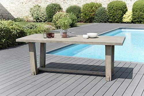 MACABANE 509004 Table à Manger rectangulaire Couleur Gris en Teck Dimension 200cm X 90cm X 75cm