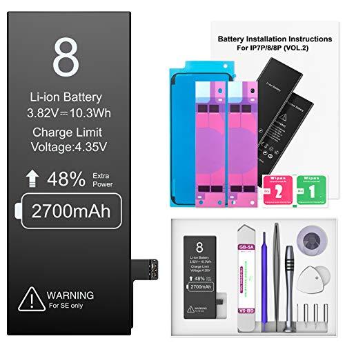 Ponoser 2700mAh Akku für Phone 8, Neuer 0-Zyklus Höhere Kapazität Li-ion Ersatz Akku für Apple 8 mit Komplett Professionelle Reparaturwerkzeuge und Anweisungen, Garantie 2 Jahr 100%