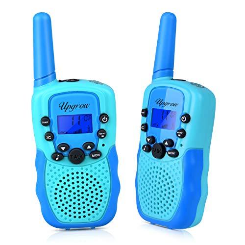 Upgrow Walkie Talkies Set, Kinder Funkgeräte 8 Kanal 3KM Reichweite mit Taschenlampe Walki Talki für Kinder, Spy-Gear Polizei Kostüm Spielzeug für 3-12 Jahren Junge, für Freien Camping Wandern (Blau)