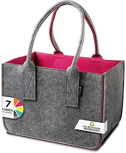 Shopping-Bag aus Filz, große Filztasche mit Henkel, Einkaufskorb, faltbare Kaminholztasche zur Aufbewahrung von Holz, vielseitige Tragetasche auch zur Spielzeug Aufbewahrung (dunkelgrau/magenta)