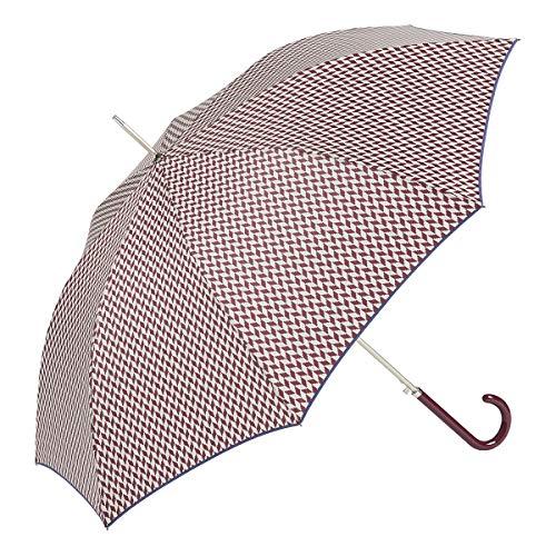EZPELETA Paraguas Largo antiviento de Mujer|Automático|Estampado Espiga (Granate)