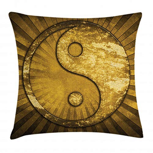 ABAKUHAUS Ying Yang Sierkussensloop, Industrieel ontwerp, Decoratieve Vierkante Hoes voor Accent Kussen, 40 cm x 40 cm, Brown Pale Brown