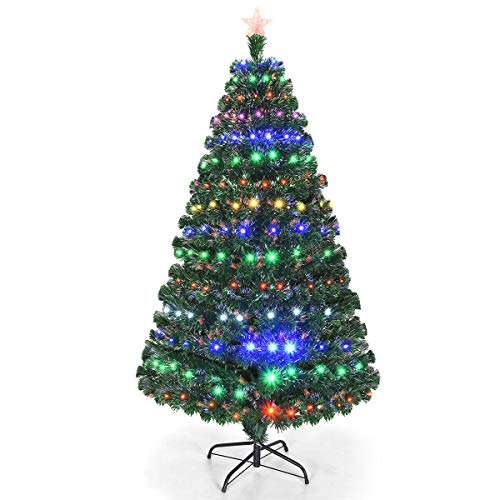 Goplus Artificial Christmas Tree Pre-Lit Optical Fiber Tree 8 Flash Modes W/UL Certified...