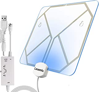 【2019 Newest】 TV Antenna Clear Acrylic Indoor Digital HDTV Antenna with Color Changing Lights - Home Decoration, Lxuemlu 150 Miles Range HD Antenna - Extremely High Reception