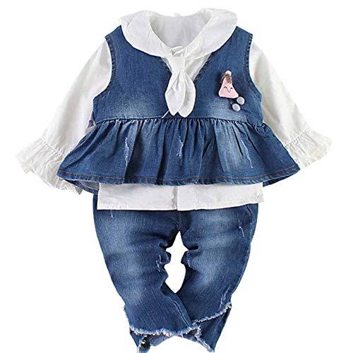 Chumhey Baby Meisjes 3 Stks Jeans geplooide Hem Tops Wit Shirt Raw Edge Broek Set