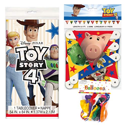 Toy Story 4 Themed Party Decorations – Includes Party Banner,Tablecloth and Ten 12' Balloons.