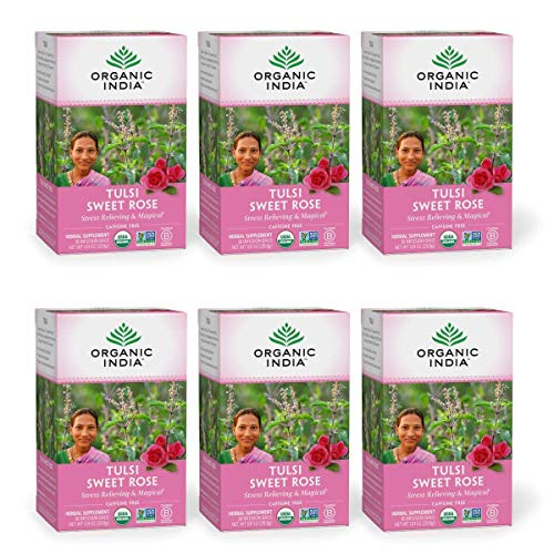 Organic India Tulsi Sweet Rose Herbal Tea - Stress Relieving & Magical, Immune Support, Adaptogen, Vegan, Gluten-Free, USDA Certified Organic, Non-GMO, Caffeine-Free - 18 Infusion Bags, 6 Pack