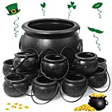 13 Pcs St. Patrick's Day Candy Cauldron Kettles with Handle, Plastic Cauldrons Candy Kettle, Black Witch Cauldron Candy Holder Pot for Kids Boys Girls - 1pcs Larger and 12pcs Smaller