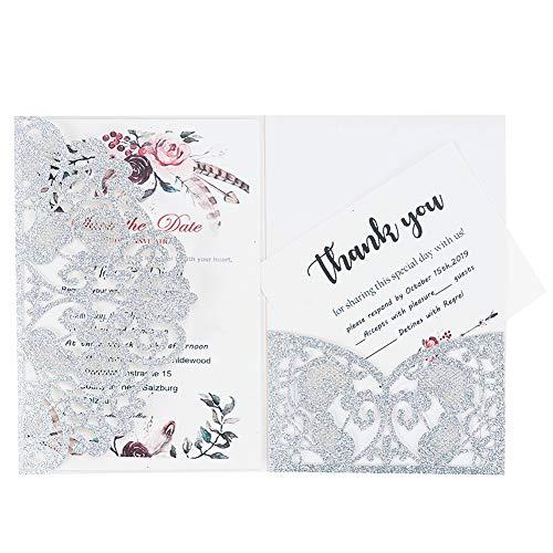 LONGBLE 20 Stück Einladungskarten Spitze Design mit Umschläge und Einlegeblätter OHNE Druck, Lasercut Glitzer Silber Hochzeitskarten Einladung für Hochzeit Geburtstag Taufe Party