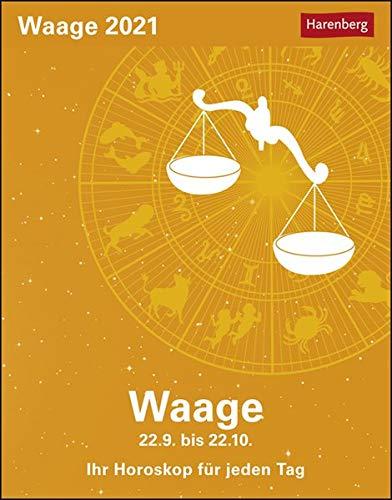 Waage Sternzeichenkalender 2021 - Tagesabreißkalender mit ausführlichem Tageshoroskop und Zitaten - Tischkalender zum Aufstellen oder Aufhängen - Format 11 x 14 cm