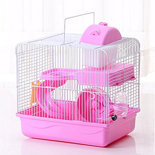 2-Tier Portable Travel Cage for Small Animals, Dwarf Hamster Travel Carrier with Carry Handle Exercise Wheel Kettle Food Dish, 10.6 x 8.2 x 11.8 Inch (Pink)
