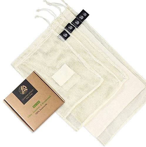 Leander Design® 5er Set Einkaufsnetze für Obst und Gemüse aus 100% Baumwolle I Gemüsebeutel mit Gewichtsangabe I Brotbeutel