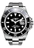 Mens Automatic Watches Self Wind GMT Silver Stainless Steel Sapphire Crystal Diving Watch