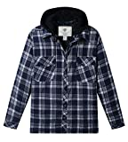 WenVen Men's Military Tactical Plaid Flannel Quilted Jacket Shirt Blue, XL