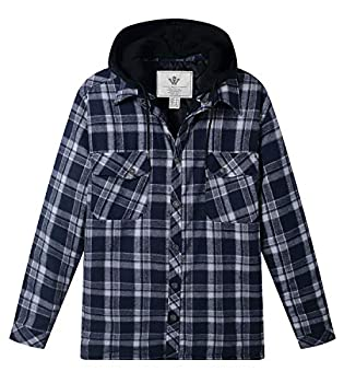 WenVen Men s Heavy Outerwear Trench Plaid Flannel Quilted Jacket Shirt Blue L