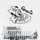 yaonuli Sweet Dream Mouse Tatuajes de Pared Nombre del Cuarto de niños de la Familia Dormitorio Vinilo Lindo Etiqueta de la Pared 42X56cm