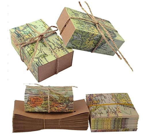 """TECH-P Creative Life 50Pcs """"Around the World"""" Map Favor Boxes Travel Theme ,Wedding Party Decoration Vintage Kraft Paper Candy Box Gift Supplies for Travel Themed Shower"""