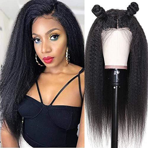 BLISSHAIR 20 Pouces Yaki Kinky Curly Hair Perruque Yaki bresilienne Lace Wig Cap Cheveux Bresilien Perruque Femme Naturelle