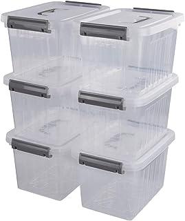 comprar comparacion Ponpng Caja Plastico Transparente de Primeros Auxilios Pequeña con Tapas y Asas, 26,1 cm x 19,3 cm x 16,1 cm, 6 Paquetes