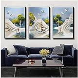 ZXYFBH Cuadros Decoracion Salon Cartel de Paisaje mediterráneo con Relieve Tridimensional Minimalista nórdico Moderno decoración de la habitación del hogar 7.8x11.8in (20x30cm) x3psc Sin Marco