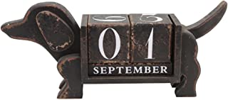 NIKKY HOME Shabby Chic Dog Shape Wood Blocks Perpetual Calendar for Desk 13.4 x 3.1 x 5.7 Inches,Black