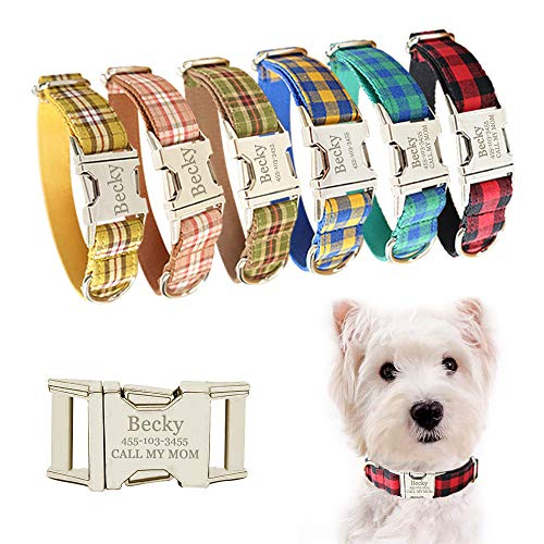 JH Personalised Dog Collar with Name Plate, Adjustable Tough Nylon Customize Engraved ID Collar with Metal Buckle, Options to Matching Style Leash and Bowtie(XS, S, M, L, XL) (Plaid Style)