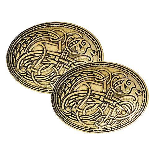Sharplace 2 Piezas Vikingo Escudo Broches Alfileres Insignia, Bufanda Decorativa Capa Chal Hebilla Broche Broche, Ropa Decoraciones De Disfraces Joyas para Muje