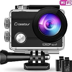 "Crosstour Action Sport Cam WiFi 14MP Full HD OnderwaterCamera 2"" LCD 170° Groothoeklenshelmcamera met 2 batterijen 1050mAh en accessoireskits*"