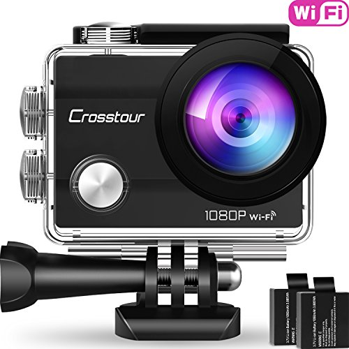 "Crosstour Action Cam, Sport WiFi Camera 14MP 2""LCD Full HD Impermeabile 2 Batterie 1050mAh 170°Grandangolare e Kit Accessori per Ciclismo Nuoto e Altr"