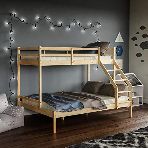 Vida Designs Sydney Triple Bunk Bed, Three Sleeper, Solid Pine Wood Frame, Kids Children, Double 4 Foot 6, Single 3 Foot, Natural Pine