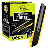 White Kaiman 12 Pack Utility Knife w/Retractable Razor Blades ~ Self Locking Handle and Snap Away Tool for Extended Life Blades ~ 18mm Blade Box Cutter (Yellow-Upgrade)