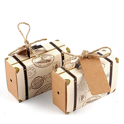 """AerWo 50pcs """"Travel Themed"""" Suitcase Favor Boxes + 50pcs Tags, Vintage Kraft Favor Box Candy Gift bag for Travel Theme Party Wedding Birthday Bridal Shower"""