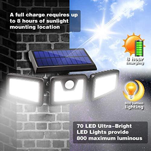 Sivane Aplique solar de tres cabezales de inducción LED Farola Focos de exterior