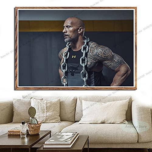 meishaonv The Rock Dwayne Johnson Movie Actor Fitness Músculo póster e Impresiones Lienzo Pintura Cuadro de Arte de Pared A1206 50 × 70CM sin Marco