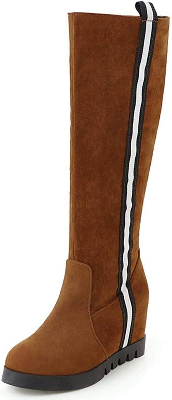 Hoxekle Knee-High Boots Women Winter Boots Female Snow Boots Long Zipper Boot Faux Suede Booties Boots Femininan