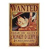 JHGJHK Se Busca el póster del Anime japonés King of The Sea Thief 'Monkey · D · Luffy'