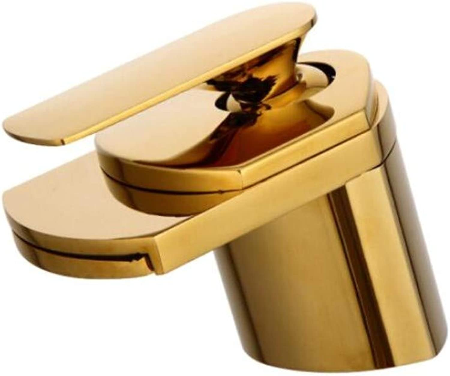 Faucet Waste Mono Spoutcopper Cold and Hot Basin Faucet Single Hole Toilet Washbasin Basin Basin Faucet Waterfall Faucet Washroom Lengthening Table Basin Faucet golden Short Style