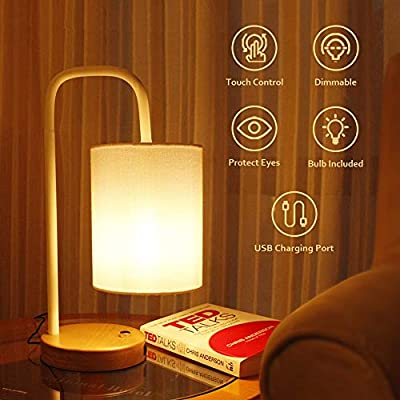 Industrial Table Lamp, BRIMAX Vintage Nightstand Lamp with USB Ports, DC 5V Antique Bedside Lamp Fabric Shade for Living Room, Dorm, 6W 2700K LED Edison Bulb Included, The lampshade can be Removed