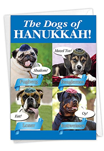 NobleWorks Dogs Of Hanukkah - Chanukah Greeting Card with Envelope (4.63 x 6.75 Inch) - C2547HKG