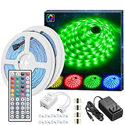MINGER Led Strip Lights Kit, 32.8Ft RGB Light Strip with Remote, Controller Box and Support Clips for Room, Bedroom, Home, Kitchen Cabinet, Party Decoration 12V/3A Adapter, Non-Waterproof, 2x16.4Ft