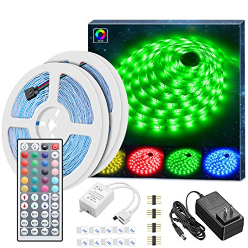 Led Strip Lights Kit, MINGER 32.8Ft RGB Light Strip with Remote, Controller Box and Support Clips Ideal for Room, Bedroom, Home, Kitchen Cabinet, Party Decoration 12V/3A Power Supply, Non-Waterproof