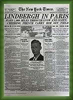 ポスター ピーター リンドバーグ VISIONAIRE(ヴィジョネアー)チャールズ・リンドバーグ NYタイムズ1927年5月22日 額装品 ウッドベーシックフレーム(グリーン)