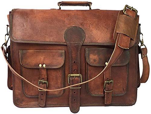 Skyland 20 Inch Leather Messenger Bag Shoulder Men Laptop Briefcase Vintage Satchel (Design1)