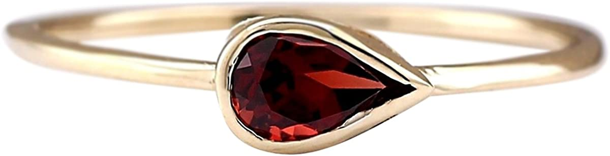 0.5 Carat Natural Red Rhodolite Garnet 14K Yellow Gold Solitaire Promise Ring for Women Exclusively Handcrafted in USA