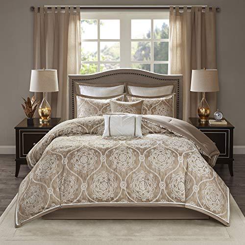 Madison Park Dora 8 Piece Jacquard Bedding Medallion Comforter Set for Bedroom, Queen Size, Taupe
