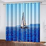 XKSJWY Cortinas Salon Dormitorio Moderno 2 Piezas 3D Barco De Vela En El Mar Azul Patrón Cortinas Ventana Opacas Termicas Aislantes Frio Y Calor, Cortinas Habitacion Juvenil con Ojales 280X260Cm
